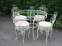 Retro Patio Furniture Sets Vintage Shabby Chic White Cast Iron Garden Furniture Set Table