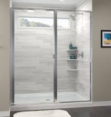 3 Panel Shower Doors Classic Semi Frameless 3 16 Inch Glass Swing Door Basco Shower Doors
