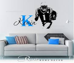 football decal custom first name vinyl sticker wall art football large decal personalized initial 1