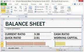 Excel Balance Sheet Template Free Simple Balance Sheet Template For Excel 2013 With Working Capital