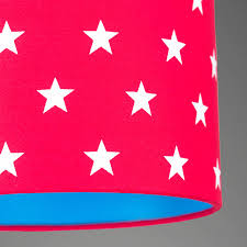 Red White Flag With Blue Star Pick And Mix Star Drum Lampshade Choice Of Colours By Quirk