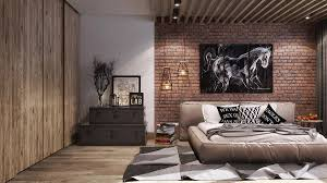exposed brick wall lighting bedroom elegant baige doted hardwood modern wardrobe bedroom