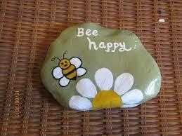 Bee Garden Decor Hand Painted River Rocks U003e Inspirational Bee Happy Lawn Garden