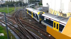 auckland transport electric trains at newmarket railway triangle
