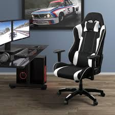 corliving black and white high back ergonomic office gaming chair
