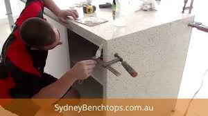 how to build a kitchen island bar installing a waterfall benchtop end sydneybenchtops com au youtube