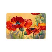 Poppy Kitchen Rug Beautiful Poppy Flower Custom Doormat Entrance Mat Floor