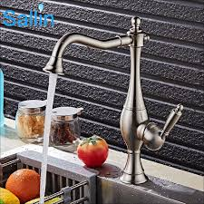 European Kitchen Faucets Luxury Brushed Nickel Black Gold Kitchen Faucet Mixer Vintage