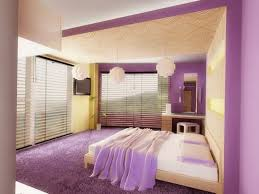 comfortable soft purple yellow white bedroom decoration with