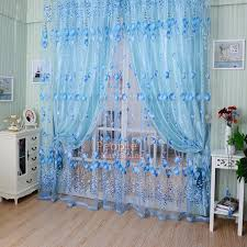 Bright Blue Curtains Floral Tulle Voile Door Window Curtain Drape Panel Sheer Scarf