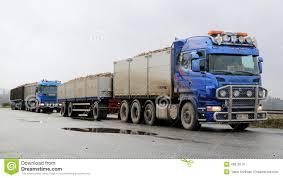 scania trucks two scania trucks haul sugar beet editorial photo image 46679176