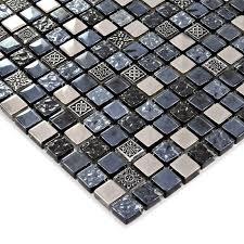 black glass tile silver glass mosaic tiles crystal backsplash