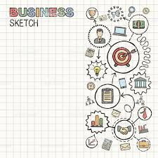 business hand draw integrated vector sketch icons set on paper