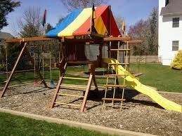 Backyard Swing Set Ideas by Rainbow Play System Restoration Wood Swing Set Around The House