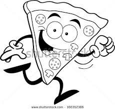 black white illustration smiling pizza slice stock vector