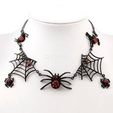 vampire gothic choker necklace and earrings set spider web charm