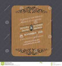 wooden wedding invitation card stock vector image 59521687