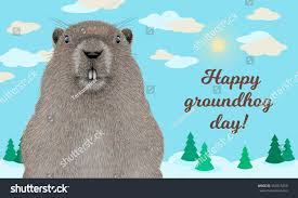 happy groundhog day greeting card stock vector 564918250