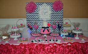 bridal shower candy buffet navy blue and pink candy bars