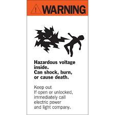 brady part 46346 warning hazardous voltage inside sign