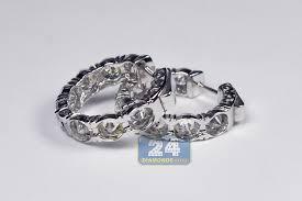 small white gold hoop earrings womens diamond hoop earrings 18k white gold 7 50 ct