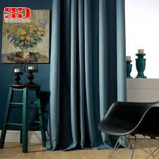 Navy Blackout Curtains Solid Faux Linen Plain Blackout Curtains For Living Room Modern