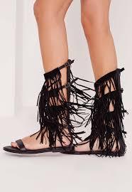 fringe detail knee high flat gladiator sandals black missguided