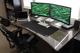 Desk For Dual Monitor Setup Gorgeous Granite Desk Setup With A Mac Mini Driving Dual