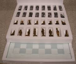 chess set with glass board egypt vs rome new 3 1 2