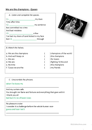 9 free esl we are the champions worksheets
