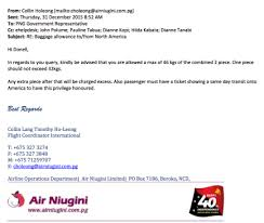 baggage allowance traveling to png