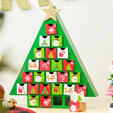 the seasonal aisle wooden tree countdown calendar with drawer