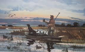 1984 early season duck decoy hunting print by chet reneson