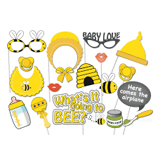 Photo Booth Accessories Baby Love Bee Photobooth Props Set Of 17 Misty Daydream
