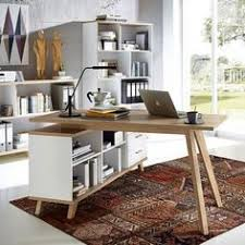 bureau d angle bois massif oslo bureau blanc d angle avec piétement en bois massif bureaus