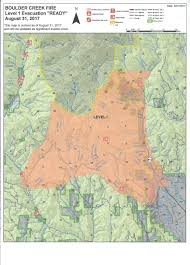 Wildfire Evacuation Levels by Baker County Level 1 Evac Issued For Boulder Creek Fire