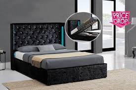 Led Bed Frame Crushed Velvet Led Ottoman Bed Frame 2 Colours 2 Sizes