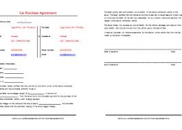 used car contract format u2013 printable documents