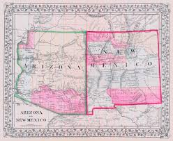 County Map Of Arizona by County Map Of Arizona And New Mexico Mitchell S A 1867 Tucson
