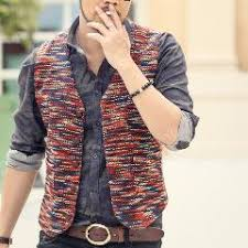 new winter mens slim fit woolen suit vest classic gilet men red