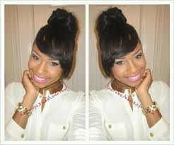 images of black braided bunstyle with bangs in back hairstyle easy side bangs bun no glue no sew tutorial youtube