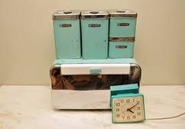 vintage metal kitchen canister sets vintage turquoise metal kitchen canister set with by whitepicket