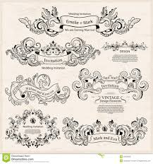 set of vintage ornaments wedding design stock vector