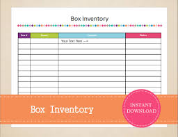 Jewelry Inventory Spreadsheet Box Inventory Packing Planner Moving Planner Inventory