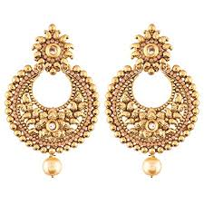 chandbali earrings buy i jewels ethnic gold plated chandbali earrings for women