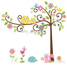baby room decoration squirrel owl tree wall