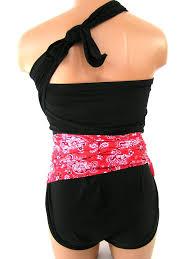 medium bathing suit red bandana w black wrap around swimsuit