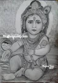 baby krishna pencil sketch happy janmashtami