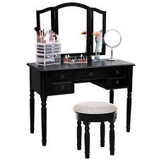 Black Vanity Table With Mirror Vanity Set Stool And Folding Mirror Make Up Dressing Table 3