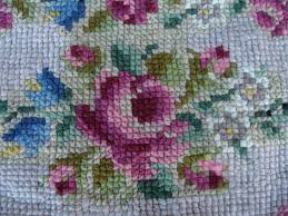 vintage handmade cross stitch wool rug floral shabby chic cottage